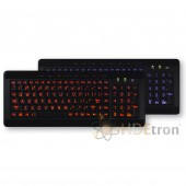 Dual Color LED USB Keyboard With Oversized Lettering - Blue/Orange